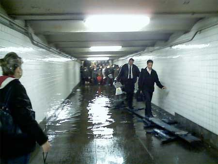 Subway walkway under water